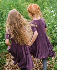 Girls in merino wool dresses